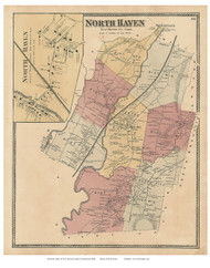 North Haven Town and Village, Connecticut 1868 Old Town Map Reprint - New Haven Co.