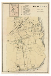 Orange and West Haven Villages, Connecticut 1868 Old Town Map Reprint - New Haven Co.