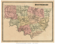 Southbury, Connecticut 1868 Old Town Map Reprint - New Haven Co.