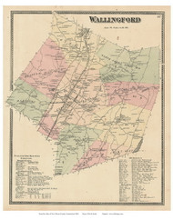 Wallingford, Connecticut 1868 Old Town Map Reprint - New Haven Co.