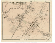 Wallingford Village, Connecticut 1868 Old Town Map Reprint - New Haven Co.