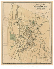 Waterbury City, Connecticut 1868 Old Town Map Reprint - New Haven Co.
