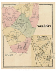 Wolcott Town and Waterville Village, Connecticut 1868 Old Town Map Reprint - New Haven Co.