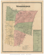 Woodbridge Town and Village, Connecticut 1868 Old Town Map Reprint - New Haven Co.