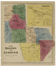 Bolton and Andover, Connecticut 1869 Tolland Co. - Old Map Reprint
