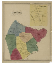 Columbia, Connecticut 1869 Tolland Co. - Old Map Reprint
