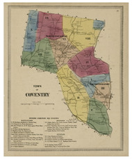 Coventry, Connecticut 1869 Tolland Co. - Old Map Reprint