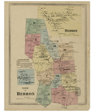 Hebron, Connecticut 1869 Tolland Co. - Old Map Reprint