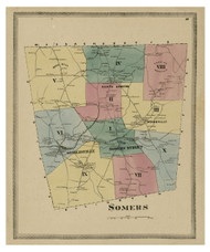 Somers, Connecticut 1869 Tolland Co. - Old Map Reprint