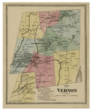 Vernon, Connecticut 1869 Tolland Co. - Old Map Reprint