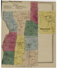 Willington, Connecticut 1869 Tolland Co. - Old Map Reprint