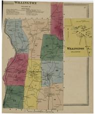 Willington, Connecticut 1869 Tolland Co. - Old Map Reprint