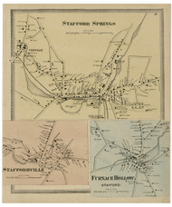 Stafford Springs Village, Connecticut 1869 Tolland Co. - Old Map Reprint
