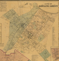 Bowling Green City, Kentucky 1877 Old Town Map Custom Print - Warren Co.