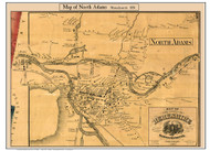 North Adams, Massachusetts 1858 Old Town Map Custom Print - Berkshire Co.
