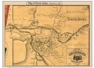 North Adams, Massachusetts 1858 Old Town Map Custom Print - Berkshire Co.
