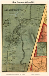 Great Barrington, Housatonic and Vandeusenville Villages, Massachusetts 1858 Old Town Map Custom Print - Berkshire Co.