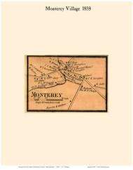 Monterey Village, Massachusetts 1858 Old Town Map Custom Print - Berkshire Co.