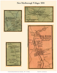 New Marlborough, Hartsville, Southfield and Mill River Villages, Massachusetts 1858 Old Town Map Custom Print - Berkshire Co.