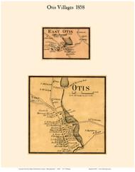 Otis and East Otis Villages, Massachusetts 1858 Old Town Map Custom Print - Berkshire Co.