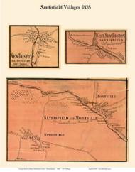 Sandisfield, Montville, New Boston and West New Boston Villages, Massachusetts 1858 Old Town Map Custom Print - Berkshire Co.