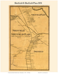 Sheffield and Sheffield Plain Villages, Massachusetts 1858 Old Town Map Custom Print - Berkshire Co.