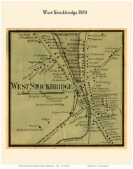 West Stockbridge Village, Massachusetts 1858 Old Town Map Custom Print - Berkshire Co.