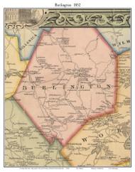Burlington, Massachusetts 1852 Old Town Map Custom Print - Boston Vicinity