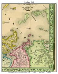 Hingham, Massachusetts 1852 Old Town Map Custom Print - Boston Vicinity