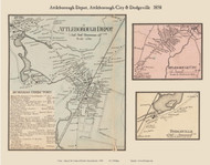 Attleborough Depot, Attleborough City and Dodgeville Villages, Massachusetts 1858 Old Town Map Custom Print - Bristol Co.