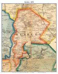 Berkely, Massachusetts 1858 Old Town Map Custom Print - Bristol Co.