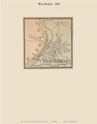 West Berkely Village, Massachusetts 1858 Old Town Map Custom Print - Bristol Co.