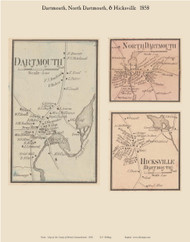 Dartmouth, North Dartmouth and Hicksville Villages, Massachusetts 1858 Old Town Map Custom Print - Bristol Co.