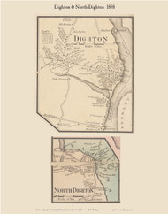 Dighton and North Dighton Villages, Massachusetts 1858 Old Town Map Custom Print - Bristol Co.