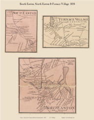 South Easton, North Easton and Furnace Villages, Massachusetts 1858 Old Town Map Custom Print - Bristol Co.