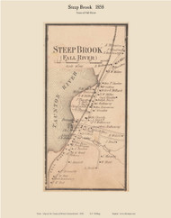 Steep Brook Village, Massachusetts 1858 Old Town Map Custom Print - Bristol Co.
