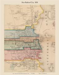 New Bedford City, Massachusetts 1858 Old Town Map Custom Print - Bristol Co.