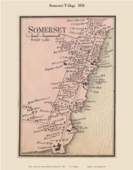 Somerset Village, Massachusetts 1858 Old Town Map Custom Print - Bristol Co.