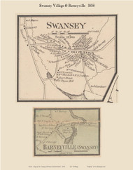 Swansey and Barneyville Villages, Massachusetts 1858 Old Town Map Custom Print - Bristol Co.