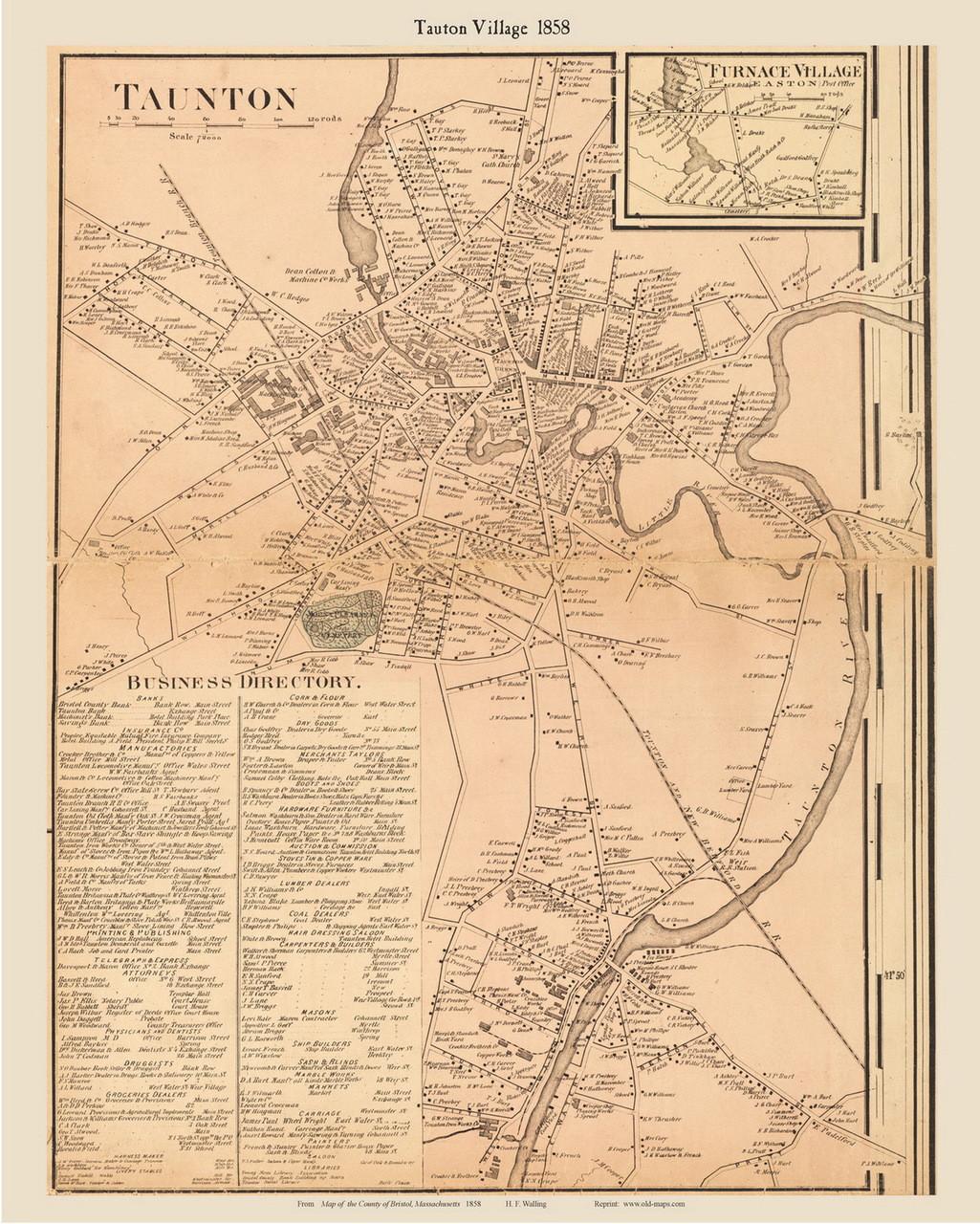 Map Of Arizona 1858.Taunton Village Massachusetts 1858 Old Town Map Custom Print