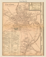 Taunton Village, Massachusetts 1858 Old Town Map Custom Print - Bristol Co.