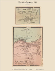 Westville and Squawbetty Villages, Massachusetts 1858 Old Town Map Custom Print - Bristol Co.