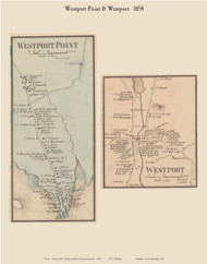 Westport Point and Westport Villages, Massachusetts 1858 Old Town Map Custom Print - Bristol Co.
