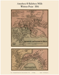 Amesbury & Salisbury Mills and Webster Point Villages, Massachusetts 1856 Old Town Map Custom Print - Essex Co.