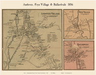Andover, Frye and Ballardvale Villages, Massachusetts 1856 Old Town Map Custom Print - Essex Co.