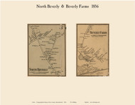 North Beverly and Beverly Farms Villages, Massachusetts 1856 Old Town Map Custom Print - Essex Co.