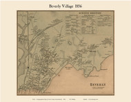 Beverly Village, Massachusetts 1856 Old Town Map Custom Print - Essex Co.