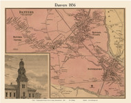 Danvers Village, Massachusetts 1856 Old Town Map Custom Print - Essex Co.