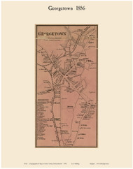 Georgetown Village, Massachusetts 1856 Old Town Map Custom Print - Essex Co.