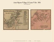 Annis Squam and Lanes Ville Villages, Massachusetts 1856 Old Town Map Custom Print - Essex Co.